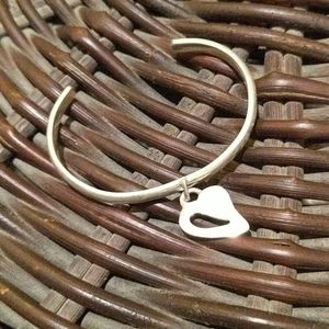 Sterling Silver Vintage Cuff Heart Charm Bracelet